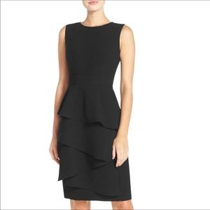 Eliza J Cascade Sheath Dress Black LBD Size 12